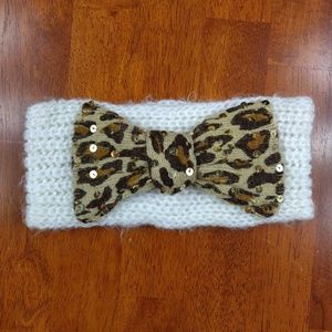 Betsey Johnson Headband Ear Warmer Leopard Bow